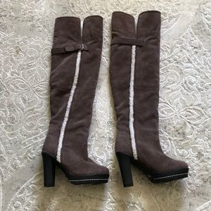 Brown Knee High buckle heel suede faux fur boots